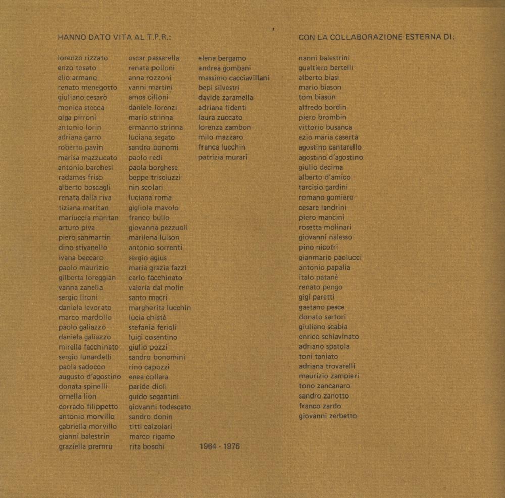 Elenco Fondatori TPR 1964/1972